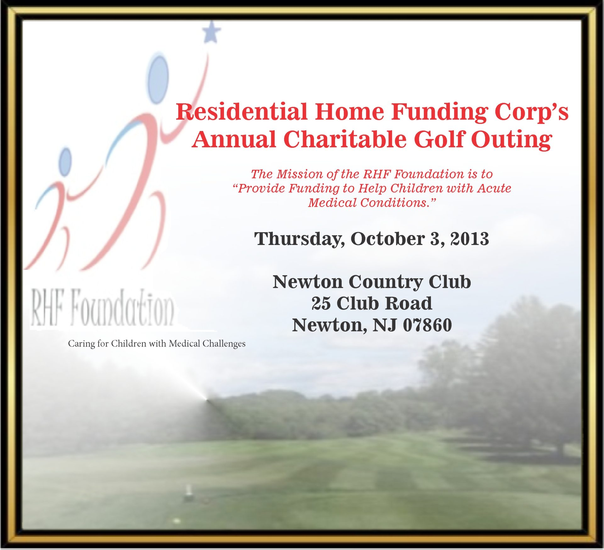 Residential Home Funding Corp S Annual Charitable Golf Outing